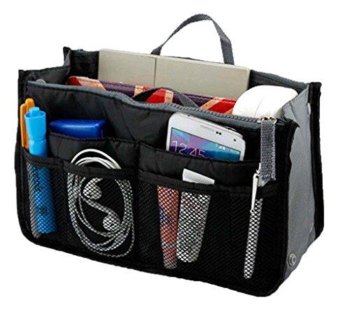 Lady Women Travel Insert Handbag Organiser Purse Large Liner Organizer Tidy Bag-Black