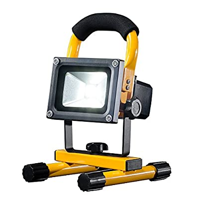 FLOOD-IT PRO 10W LED Flood Light - The Ultimate Portable Work Light - Dust Proof, Water Resistant, IP65 Rated - 95ft Range - 4+ Hrs Per Charge - Premium Li-Ion Batteries - Daylight Yellow