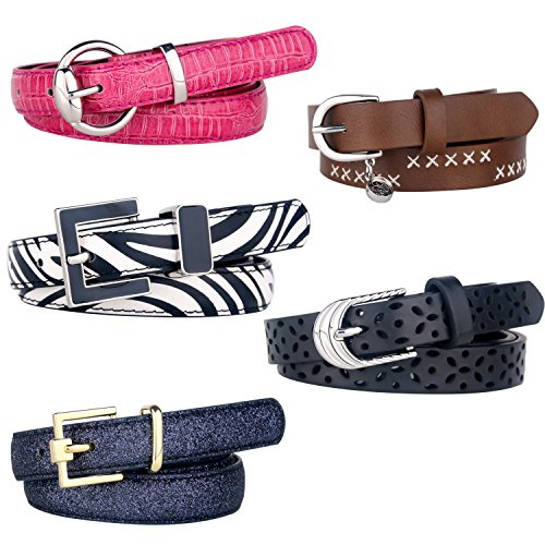 Set of 5 Women's Skinny Leather Belt Solid Color Waist or Hips Ornament Fashion Jeans Dress Accessory Belts For Women (Suit Pant Size 34-40in, Multicolor 2)