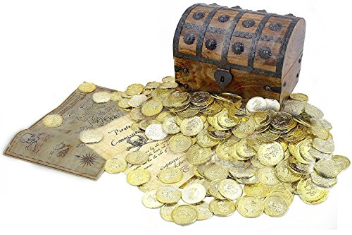 WellPackBox Large 8x6x6 Wooden Pirate Treasure Chest Box 150 Gold Coins Map and Pirate Document