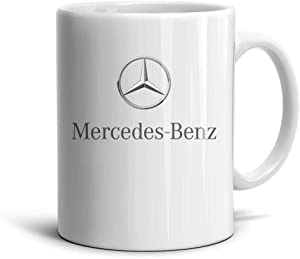 Happy-life White Ceramic 11 OZ Coffee Mugs Mercedes-Benz-Logo- Inspirational 330ML Tea Mugs Cup Friend,Dad,Grandpa,Brother Gifts
