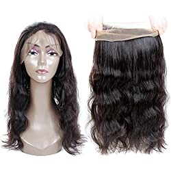 Moda Mode 360 Lace Frontal Closure, Virgin Human Hair Extension Brazilian Body Wave Full Lace Frontal Band Closure Natural Black Remy Hair Weave (20 inches)