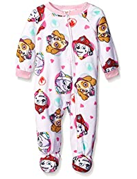 Paw Patrol Girls Fleece Sleeper Pajamas (24M, White Skye Everest & Marshall)
