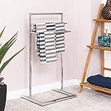 Tangkula Floor Towel Holder 3 Tier Bathroom Free Standing Bathroom Towel...