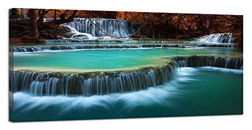 Red Framed Panel Print - Yiijeah Canvas Wall Art 1 Panel Framed Prints Decor Blue Peaceful Waterfall Red Tree Landscape Picture Print on Canvas Modern Large Artwork for Living Room Bedroom Decoration (24x48inchx1p)