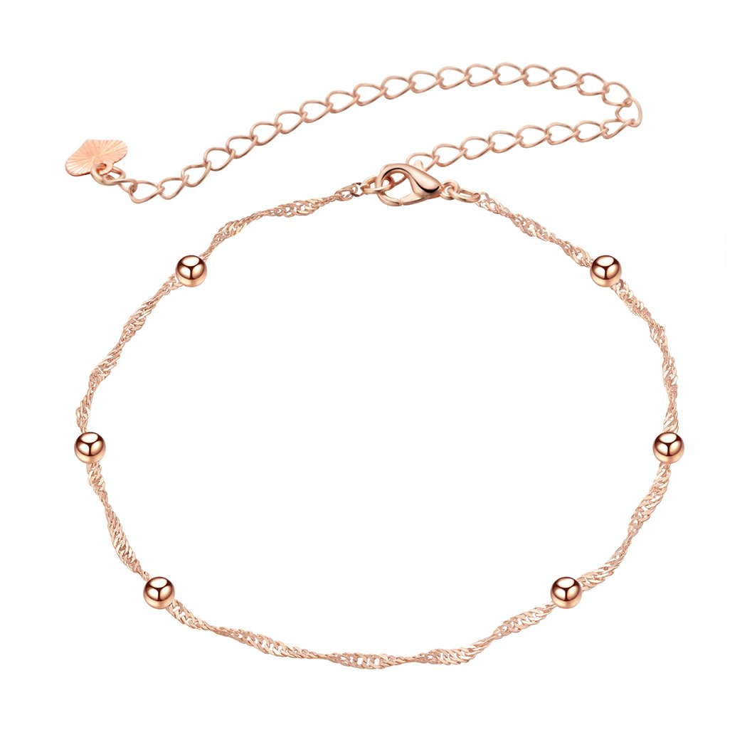 Classic Women Jewelry Handmade Rose Gold Round Beads Singapore-Chain Anklet Bracelets Extented Size QIAMNI JEWELRY LTD M4A4785