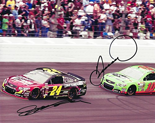 (2X AUTOGRAPHED Jeff Gordon & Danica Patrick On Track NASCAR Racing (Signed 8X10 Picture) Glossy Photo with COA)