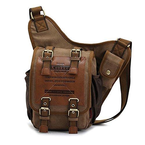 Full Flap Sling - APG Men's Brown Canvas Leather Single Shoulder Cross Body Bag Military Messenger School Travel Hiking Satchel