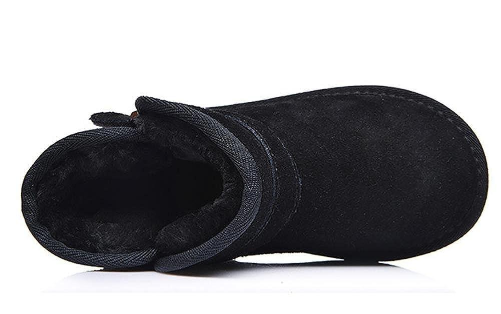 SYYAN Baby Winter Girls Genuine Leather Keep Warm Handmade Sheepskin Mini Snow Boots Black/& Coffer Color 0-6 Months 6-12 Months