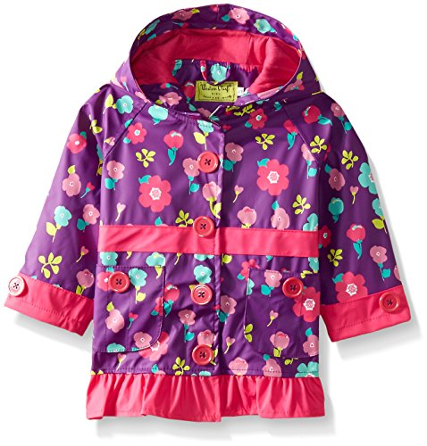 Western Chief Little Girls' Lovely Floral Rain Coat, Purple, 5
