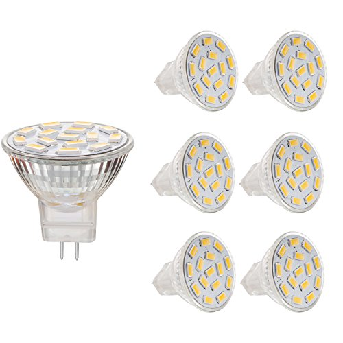 Bogao 3W MR11 GU4.0 LED Bulbs, 20-25W Halogen Bulbs Equivalent, GU4 Base, 240lm, 12V AC/DC, 120 Flood Beam, Warm White, 3000K, LED Light Bulbs, Pack of 6