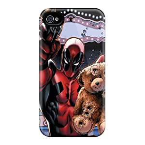 Great Hard Cell-phone Cases For Apple Iphone 4/4s With Allow Personal Design High Resolution Deadpool Saving Teddy Bear Skin JohnPrimeauMaurice