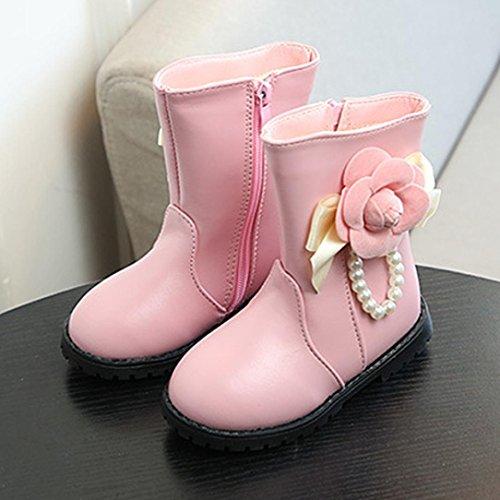 Clode® Mädchen Kinder Kinder Schule Blumen Perlen Stiefel Casual Mid Stiefel Schuhe Rosa