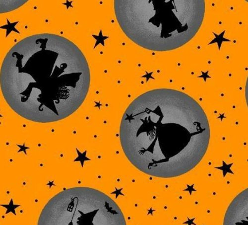 Marcus Brothers 'Halloween Party' Silhouettes in Dark Orbs on Orange Cotton Fabric By the Yard ()