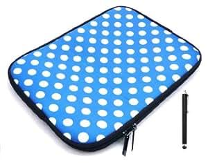 Emartbuy® Bundle Pack De Negro Capacitiva / Pantalla Táctil Resistiva Stylus Pen Y Lunares Azul / Blanco (7 PuLGadas Tableta / Ereader / Netbook) Resistente A La Caja Del Neopreno Zip Soft Water / La Cubierta Adecuada Para HP Slate 7 (De 7 PuLGadas Tablet)