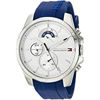 Tommy Hilfiger Men's Cool Sport Stainless Steel Quartz Watch with Silicone Strap, Blue, 22 (Model: 1791349