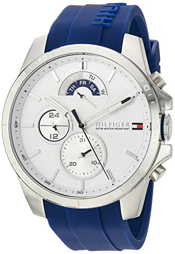 Tommy Hilfiger Men's 'COOL SPORT' Quartz Stainless Steel and Silicone Casual Watch, Color Blue (Model: 1791349)