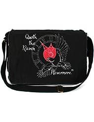 Dancing Participle The Raven Embroidered Black Messenger Bag