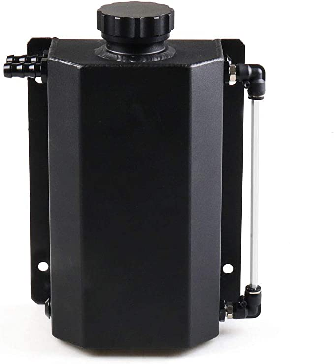 Dyno Racing Universal 2L Alloy Engine Oil Fuel Gas Catch Can Breather Tank Bottle Coolant Radiator Overflow Tank BK