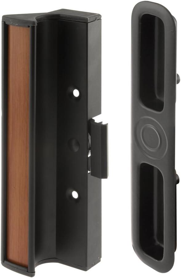 Prime-Line C 1201 Sliding Door Clamp Style Handle Set, 3in. Hole Center, Aluminum & Diecast Construction, Black, Pack of 1