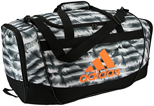 adidas Defender II Small Duffel Bag, One Size, Cosmic White/Black/Glow Orange