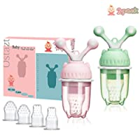 Baby Food Feeder Pacifier 2 Pack - Infant Fresh Fruit Feeder Rotary Teething Toy...