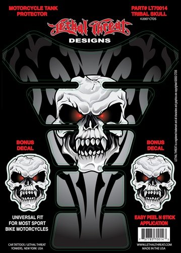 Lethal Threat YSLT70014 Tribal Skull Tank Pad for All Sportbikes