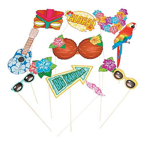 Fun Express - Luau Photo Stick Props for Party - Apparel Accessories - Costume Accessories - Costume Props - Party - 12 Pieces