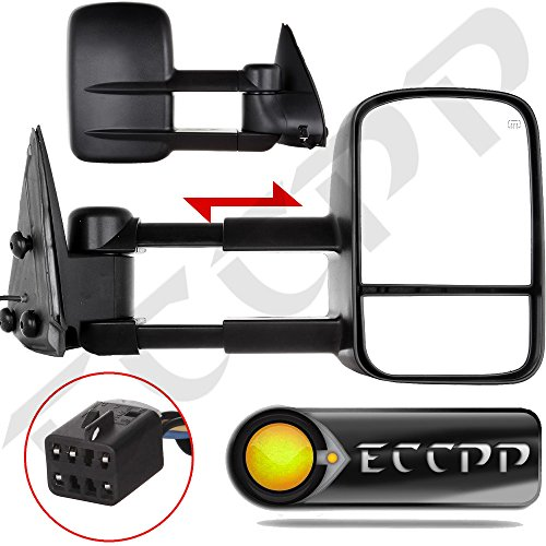ECCPP Towing mirrors For Chevy Chevrolet Silverado Tahoe Suburban GMC Sierra Yukon XL Black Power Heated Towing Side Mirrors (2001 Suburban Towing Mirrors compare prices)