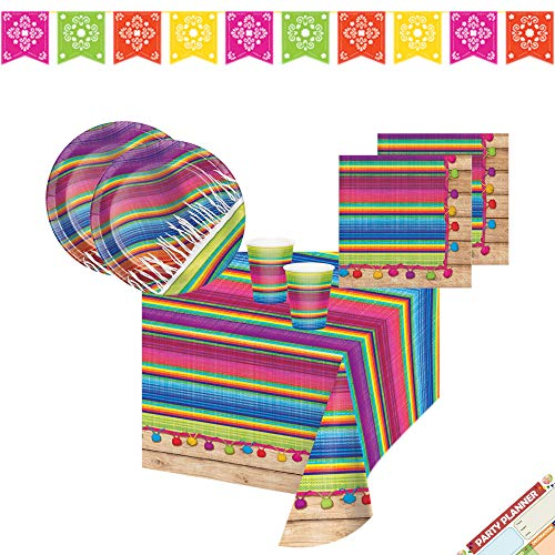 Paper Theme Plate 9' (Mexican Fiesta Party Supplies, Taco Serape Paper Plates Napkins and Decorations | Perfect as a Birthday Theme or Dinner Party | Best Value | Serves 16)