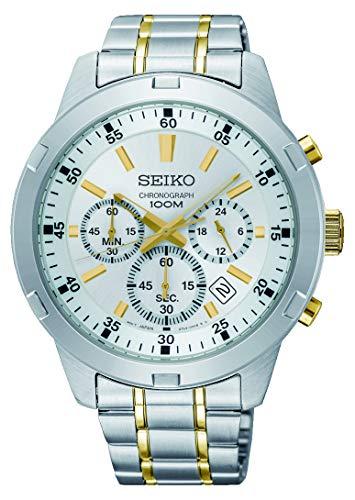 Seiko Men's White Dial Stainless Steel Band Watch - SKS607P1