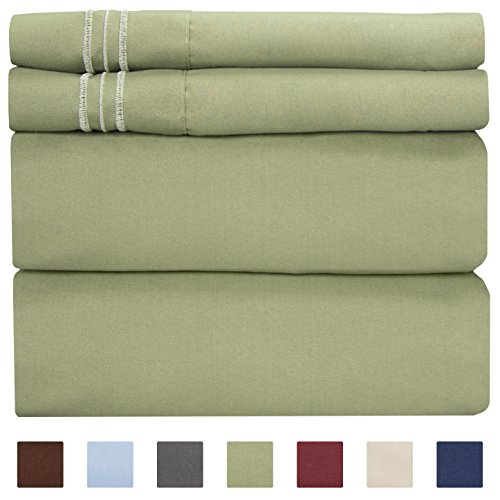 Queen Size Sheet Set - 4 Piece Set - Hotel Luxury Bed Sheets - Extra Soft - Deep Pockets - Easy Fit - Breathable & Cooling - Wrinkle Free - Comfy - Sage Green Bed Sheets - Queens Sheets - 4 PC ()