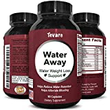 Water Away Diuretic Pills – Natural Water Weight Loss Support for Men and Women Fast Acting Bloating Swelling Relief Supplement – Pure Vitamin B6 Dandelion Green Tea Extract 90 Capsules by Tevare