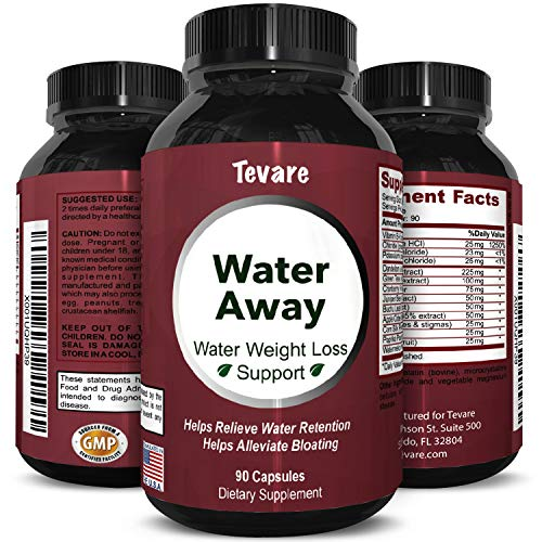 Water Away Diuretic Pills - Natural Water Weight Loss Support for Men and Women Fast Acting Bloating Swelling Relief Supplement - Pure Vitamin B6 Dandelion Green Tea Extract 90 Capsules by Tevare