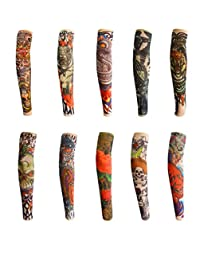 Children's Tattoo Arm Sleeves Cycling Sun Protective Uv Cover Sports Cooling Arm Sleeves(10 Pcs) (Color31-40)