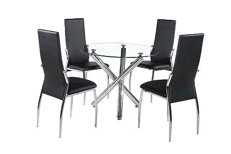 Cristal transparente HGG mesa de comedor con 4 sillas Tamaño ...