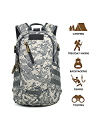 Hisea Outdoor Hiking Backpack 15L/25L - Durable Nylon Waterproof Daypack Tactical Military Backpacks MOLLE Rucksacks with Ergonomic Design for Cycling Camping Travelling Hunting