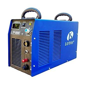 """Lotos LTP8000 80Amp Non-Touch Pilot Arc Air Plasma Cutter, 1"""" Inch Clean Cut"""
