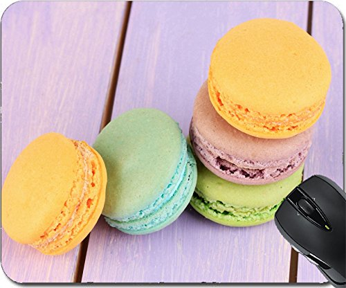 MSD Natural Rubber Mouse Pad Mouse Pads/Mat design 21003588 Macaroons on wooden table close up