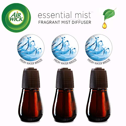 Air Wick Essential Oils Diffuser Mist Refill, Fresh Water Breeze, 3 Count, Air Freshener