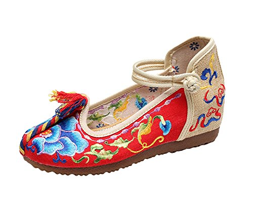 Mary Embroidery Red Knot Jane Casual Canvas AvaCostume Shoes Womens Color xF6wY5vH