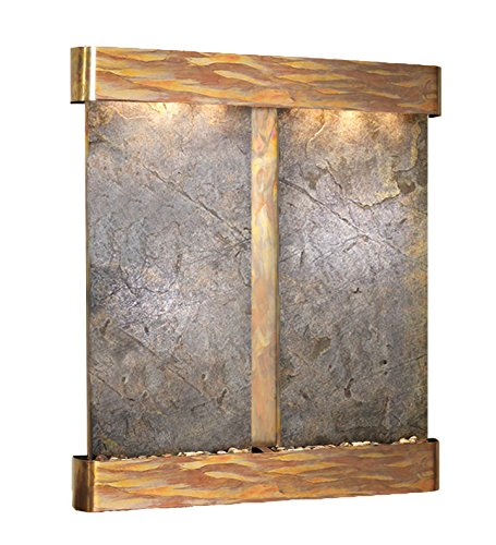 - Cottonwood Falls Water Feature with Rustic Copper Trim and Round Edges (Green FeatherStone)