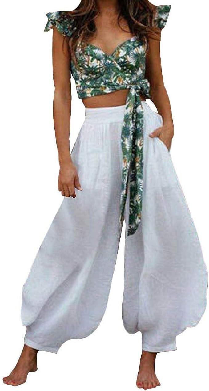 Oversize Women Casual Wide Legs Long Pants Loose Plain Harem Pants Trousers Plus