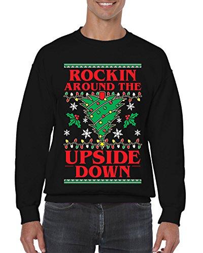 SpiritForged Apparel Rockin Around The Upside Down Crewneck Sweater, Black (Christmas Sweater Upside Down Snowman)