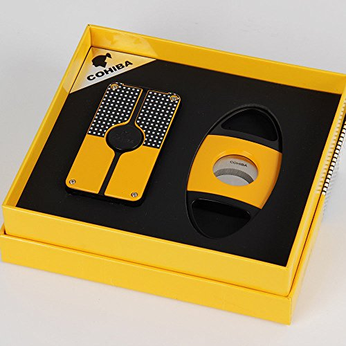 COHIBA Yellow Classic 3 Torch Jet Flame Cigar Lighter W/ Saw Blade Cutter (Classic Cigars)