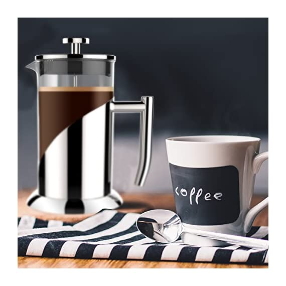 "Gorgeous [8 Cup] French Press Coffee Maker & Tea Maker (34 Oz) - Best Café Press Pot with 18/8 Grade Stainless Steel & No-Shatter Borosilicate Glass - Drink the Perfect Cafetiere Cuppa Every Time! 3 BLACK FRIDAY SUPER SALE COUPON - Want to save an EXTRA 10% TODAY Only? Use Coupon at checkout: LLPRIME1. Limited Stock! Expires Today! SKIP THE CAFÉ - OUR PATENTED SYSTEM IS 100 TIMES BETTER: Did you know that the IDEAL French press with the PERFECTLY SIZED micro filter actually UNLOCKS FLAVORS you've never tasted before? AROMAS you'll only find in a European Café? And the happiness only the perfect cuppa brings? Yeah, it's like that... 4 MINUTES - IMAGINE IF YOU COULD GET THE PERFECT CUPPA FASTER than your Barista could make it! If you're looking for a barista quality French press coffee maker that's actually FASTER than standing in line at you know where, then you'll love how our RAPID RELEASE stainless steel French Coffee press microfilter and plunger system delivers you SMOOTH, CREAMY COFFEE in 4 minutes or less! PICS DON'T DO IT JUSTICE! Stunning and sleek in design, this will have you (or your beloved gifted) saying ""OOOOH LA LA GORGEOUS!"" Every detail is accounted - from the COOLTouch handle to the LUSTROUS 18/8 CHROME STAINLESS STEEL to the curvaceous design, to the sparkling borosilicate glass - it's a VISION to behold."