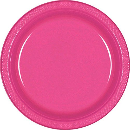 Amscan Party Ready Disposable Round Dinner Plates (20 Piece), Bright Pink, 10 x 10