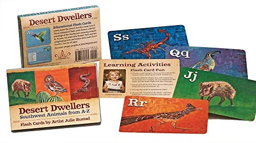 Julie Originals Desert Dwellers Animal Flash Cards, Award Winning A-Z Set Bonus Facts Activities, Fun Learning Ages 2-12