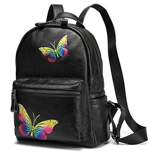 Las Mujeres Señoras Cuero Genuino Flor De Mariposa Impresa Mochila Para Acampar Al Aire Libre Deportes Universidad Mochila Bolso De Hombro Black