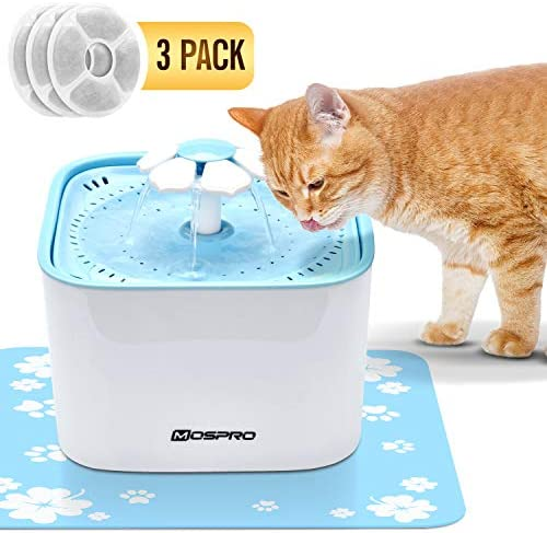 Pet Fountain Cat Water Dispenser – Healthy and Hygienic Drinking Fountain Super Quiet Flower Automatic Electric Water Bowl with 2 Replacement Filters for Dogs, Cats, Birds and Small Animals Blue